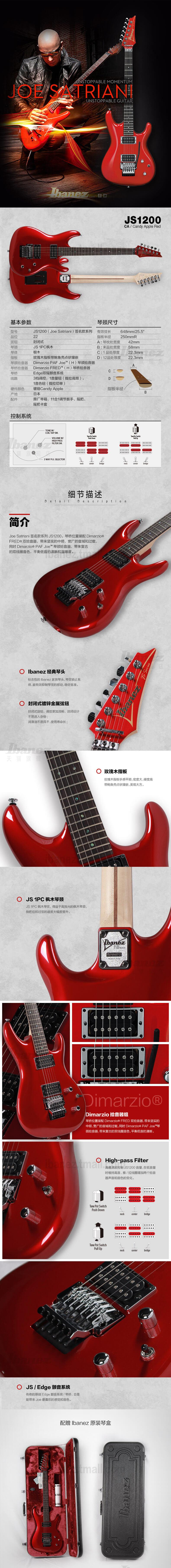 banez官方旗舰店 爱宾斯 依班娜JS1200电吉他Joe Satriani签名款 05